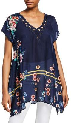Johnny Was Muzuko Floral-Print V-Neck Short-Sleeve Flowy Scallop Hem Tunic