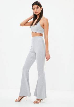 Missguided Ribbed Kick Flare Trousers
