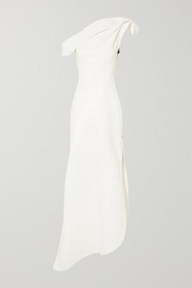 Maticevski Slinger One-shoulder Asymmetric Cady Gown - White