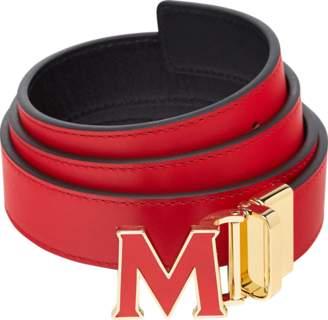 "MCM Claus Enamel M Reversible Belt 1.2"" In Leather"