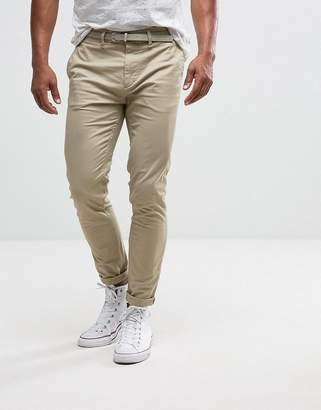Pull&Bear Skinny Chinos With Belt In Stone