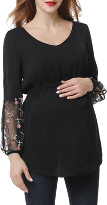 Kimi and Kai Gisel Embroidered Maternity Top