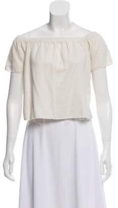 Mother Linen-Blend Off-The-Shoulder Top