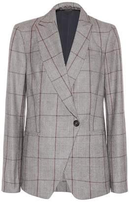 Brunello Cucinelli Plaid wool wrap blazer