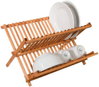 SWEET HOME COLLECTION Two Level Folding Kitchen Counter Top Bamboo Dish Rack Drainer
