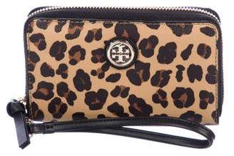 Tory Burch Leather-Trimmed Zip-Around Wallet