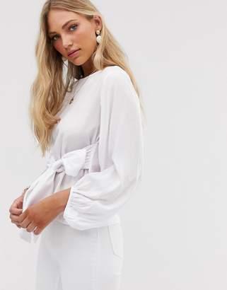 Vero Moda volume sleeve blouse with tie front