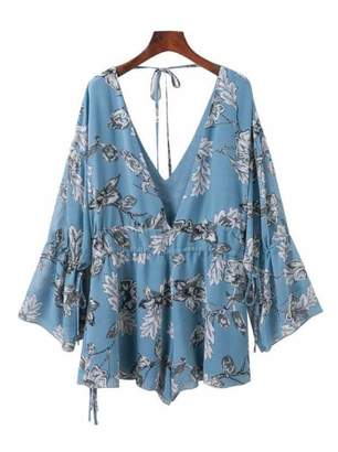 Goodnight Macaroon 'Balay' Deep V Flared Sleeve Floral Romper