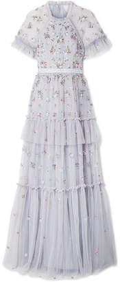 Needle & Thread Lustre Tiered Embellished Tulle Gown - Light blue