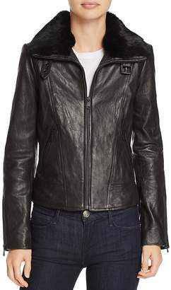 Andrew Marc Cambridge Fur Trim Leather Jacket