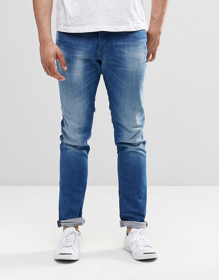 DieselDiesel Tepphar Skinny Jeans 855G Contrast Waist Mid Wash