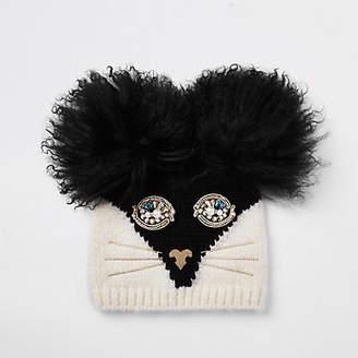 River Island Womens RI 30 Black cat face beanie hat