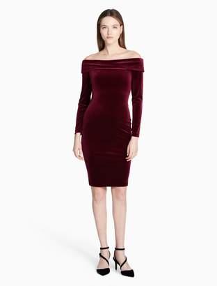 Calvin Klein off-shoulder velvet sheath dress