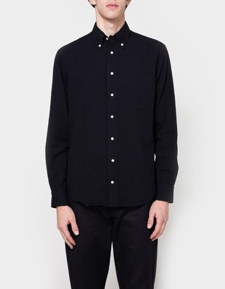 Navy Overdye Seersucker LS Button Down $180 thestylecure.com