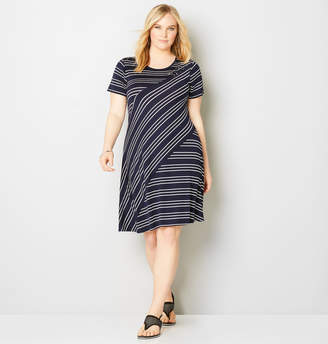 Avenue Mixed Stripe Grommet A-Line Dress