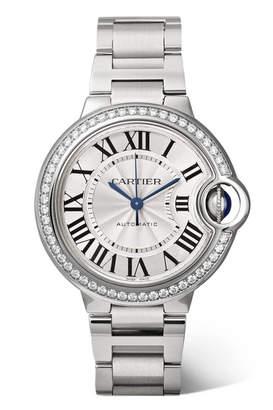 Cartier Ballon Bleu De 33mm Stainless Steel And Diamond Watch - Silver