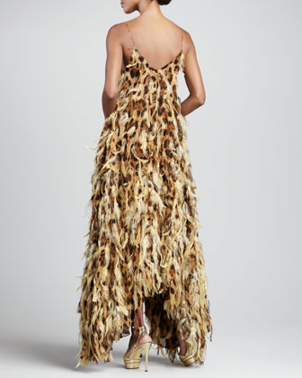Michael Kors Leopard-Print Chiffon Feathered Gown