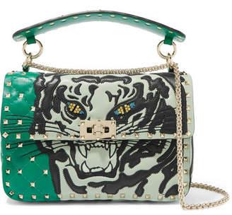 Valentino Garavani The Rockstud Spike Embellished Quilted Leather Shoulder Bag - Green