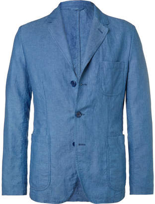 Aspesi Blue Garment Dyed Slub Linen And Cotton-Blend Blazer