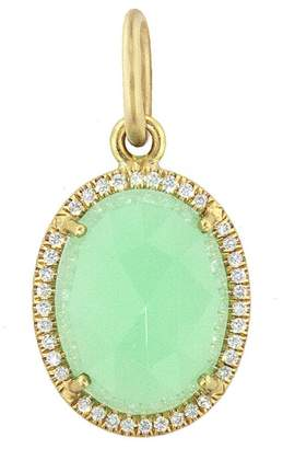 Irene Neuwirth Rose Cut Chrysoprase Diamond Oval Charm