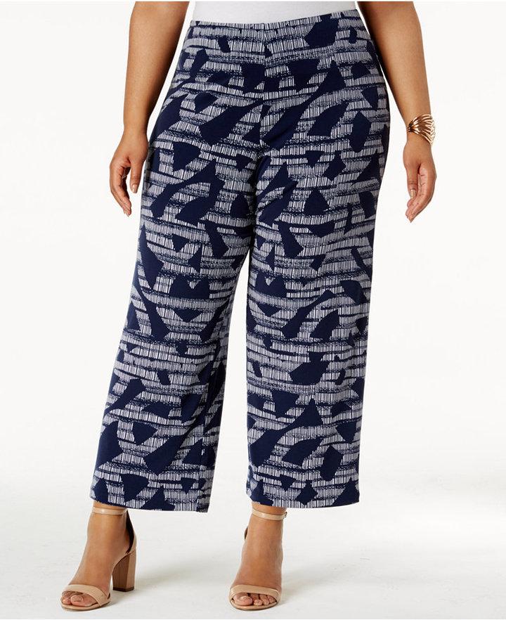 AlfaniAlfani Plus Size Printed Knit Cropped Pants, Only at Macy's