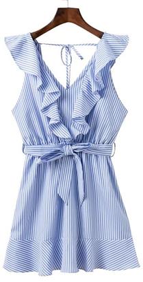 Shein Ruffle Trim Tie Back Bow Tie Waist Dress