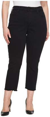 NYDJ Plus Size Plus Size Sheri Slim Ankle w/ Fray Hem in Black Women's Jeans