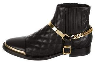Balmain Quilted Leather Ankle Boots