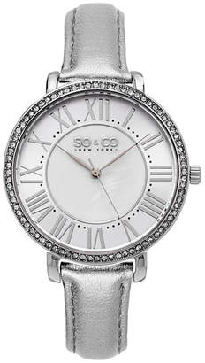 Mother of Pearl SO & CO Ny Women's Soho Leather Strap White Center Dial With Silver Tone Outer Dial Dress Quartz Watch J155P70