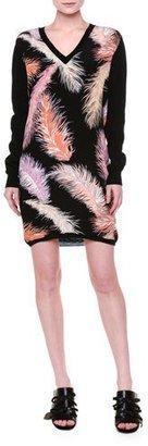 Emilio Pucci Long-Sleeve Feather-Print Sheath Dress, Black/Multi $1,190 thestylecure.com