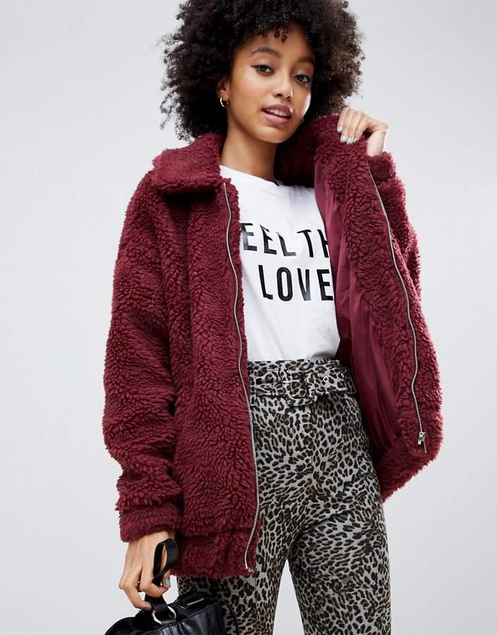 teddy faux fur bomber jacket in burgundy