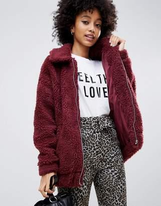 New Look teddy faux fur bomber jacket in burgundy
