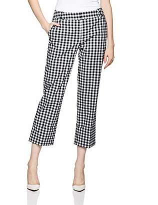 Reesa Rae Women's Smart Midwaist Folded Cuff Pants with Check Pattern