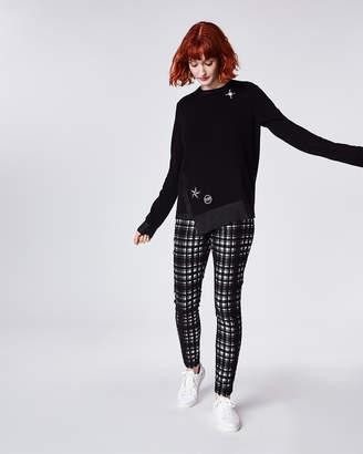 Nicole Miller Foiled Cashmere Asymmetrical Sweater