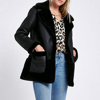 River Island Black reversible suedette shearling coat