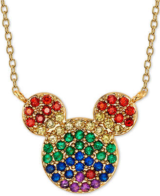 "Disney Rainbow Crystal Mickey Mouse Pendant Necklace in Gold-Plate, 16"" + 2"" extender"