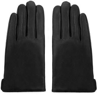 Matsu Gloves MATSU Simple Men Winter Warm Lambskin Leather Black Wool lined Gloves M1004