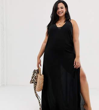 South Beach Curve beach slip dress in black