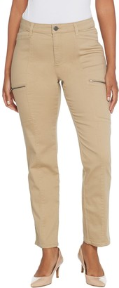 Susan Graver Petite Stretch Twill Slim-Leg Utility Jeans