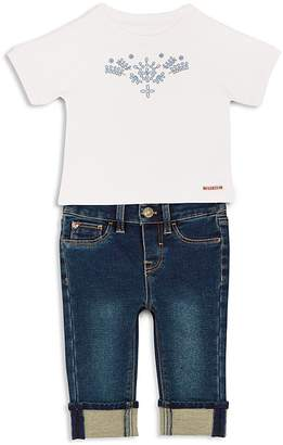 Hudson Girls' Embroidered Tee & Cuffed Jeans Set - Baby