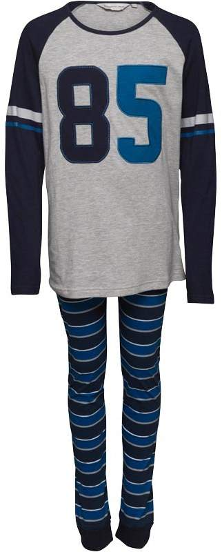 Boys Long Sleeve Top And Jersey Pant PJ Set Navy/Blue/White/Grey