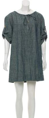 Tory Burch Chambray V-Neck Mini Dress