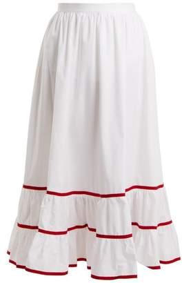 Stella Jean Contrast Trim Cotton Poplin Skirt - Womens - White