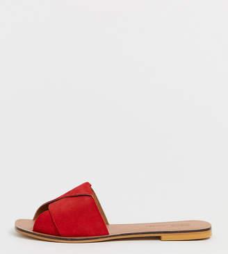 4b50ff823862 Asos Design DESIGN Wide Fit Favoured leather flat sandals