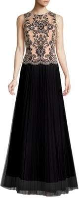 Aidan Mattox Embroidered Lace Two-Tone Dress