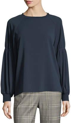 Tibi Sav Crewneck Long-Sleeve Easy Crepe Shirt