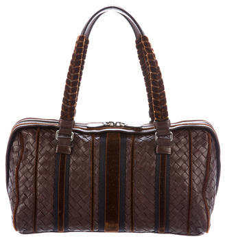 Bottega VenetaBottega Veneta Velvet-Trimmed Intrecciato Handle Bag
