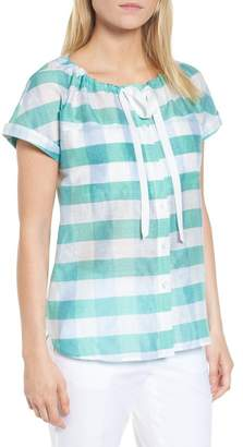 Nordstrom Signature Tie Neck Check Top