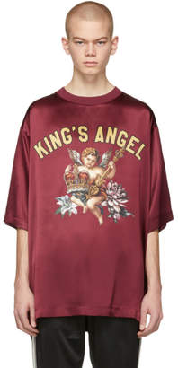 Dolce & Gabbana Burgundy Silk Kings Angel T-Shirt
