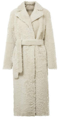 Theory Clairene Reversible Shearling Coat - Ivory